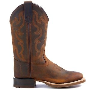Old West Kids Distressed Brown Square Toe Boots